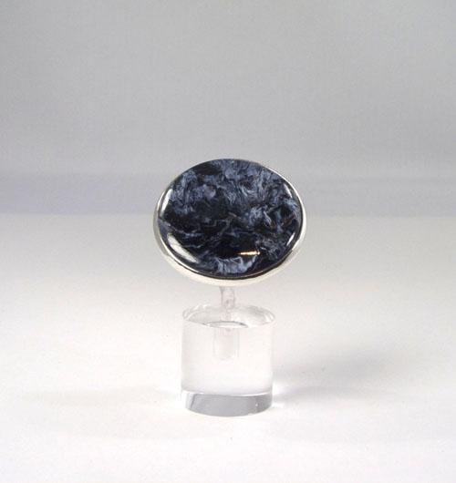 Unikat Ring Pietersit Rund Blau