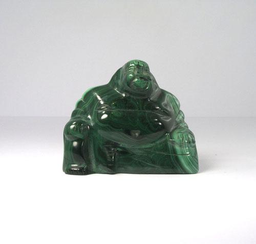 Unikat Lachender Buddha Malachit Groß