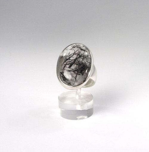 Unikat Ring Turmalin-Quarz Oval