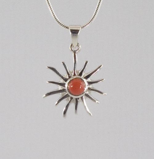 Anhänge Rote Koralle Sonne klein