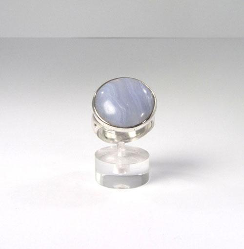 Unikat Ring Chalcedon Blau Rund