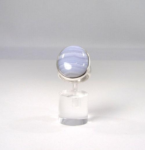 Unikat Ring Chalcedon Blau Oval