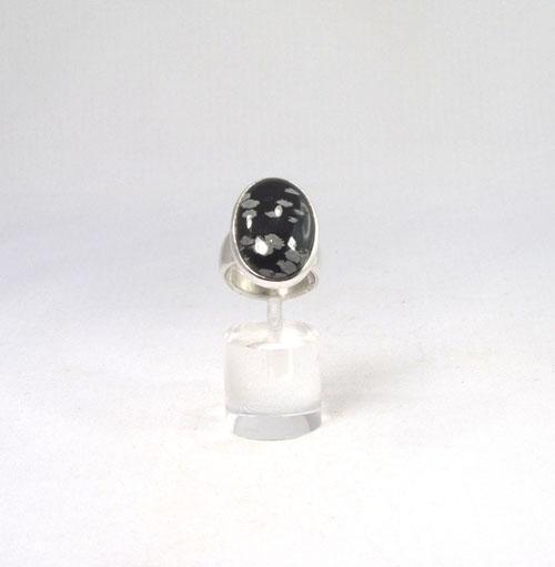 Ring Schneeflocken-Obsidian Oval