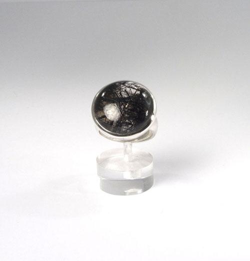Unikat Ring Turmalin-Quarz Rund