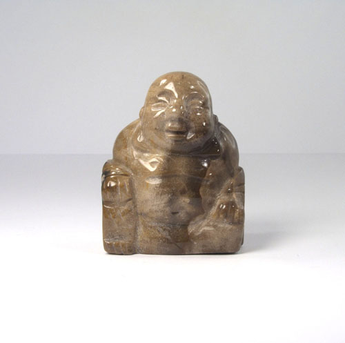 Lachender Buddha Versteinertes Holz