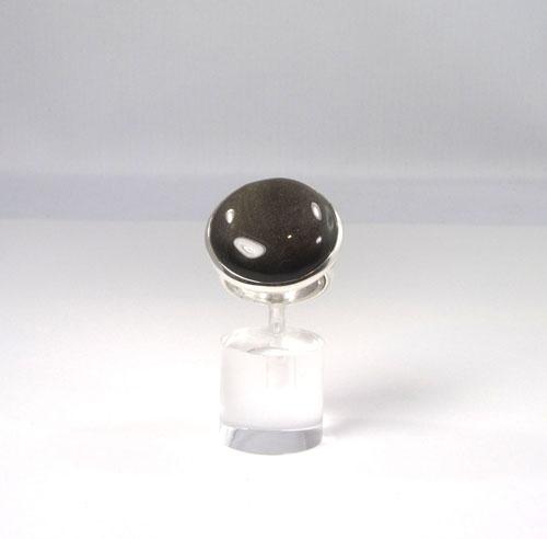 Unikat Ring Gold-Obsidian Rund