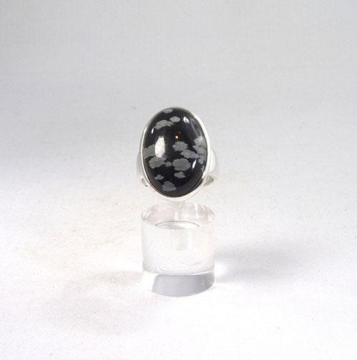 Unikat Ring Schneeflocken-Obsidian Oval